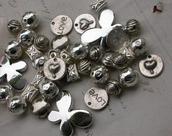 set of 15 assorted metal beads