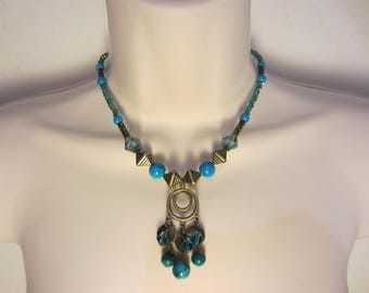Blue and bronze necklace