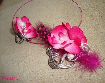 Set necklace and ring fuchsia orchid flower and white feather, wedding