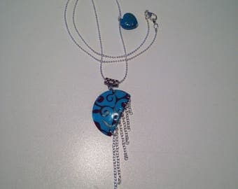 """Necklace fimo """"Burgundy and gray pattern on blue"""""""