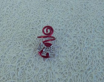 Red aluminum and silver charm ring