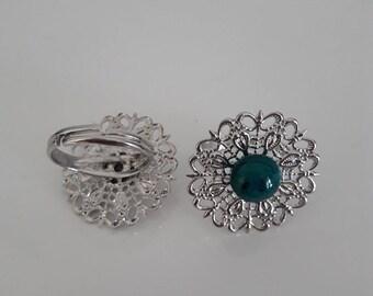 round filigree silver ring