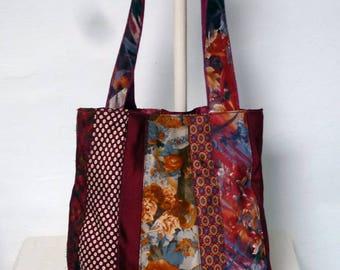 handbag made with silk and polyester ties