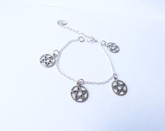 Silver bracelet charms pentacles magic occult esoteric pagan witch woman jewelry