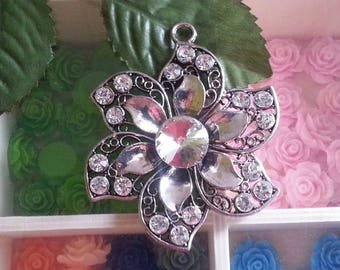 1 large pendant with Rhinestones, Silver flower, antique, Crystal, 73x59.5x11 mm, hole: 5 mm
