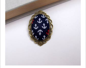 "Navy blue fabric brooch Navy anchor ""skewer me"""