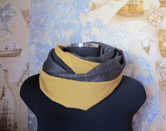 "snood scarf tube vintage ""I'm hot"" vintage fabric grey, chevron, black and Brown mustard yellow fabric"
