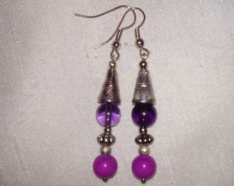 {Purple Oriental} oriental style, shades of purple and Silver earrings