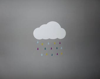cloud stickers and small drops of rain
