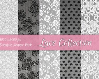 Lace Collection Textures - Scrapbooking & Digital Paper Set - Seamless Textures