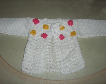 Cardigan in the hook for girl hand-made
