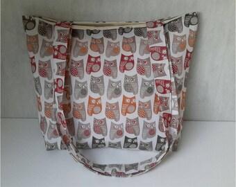Cabas bag Jolitissu owls pattern with long handles