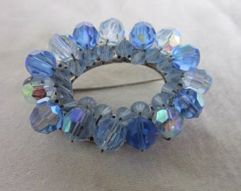 Large Vintage Blue Cut Crystal Beaded Circle Brooch Pretty