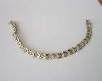Beautiful Sterling Silver & Alternating Gold Wash Leaf Link Bracelet