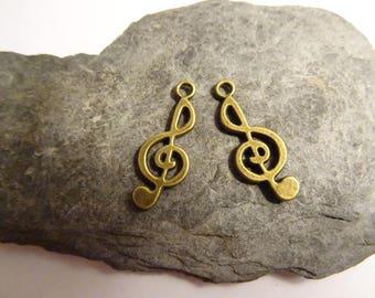 2 pcs 12mm treble clef music bronze