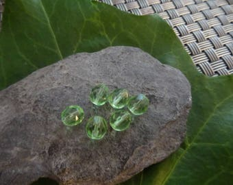 8mm 6 facet clear green beads ideal for creating