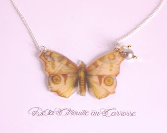 Beige butterfly, beads necklace