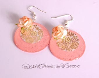 Floral Japanese, sky blue and coral earrings