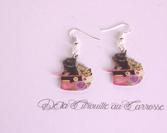 Black rabbit earrings, Pink Hat