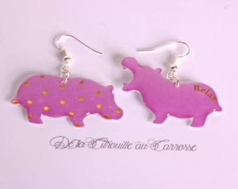 Hippo asymmetrical earrings, purple and gold
