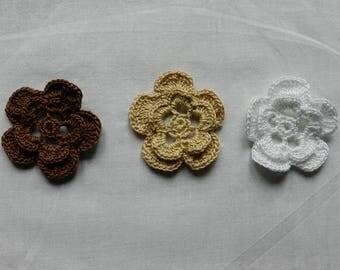 set of 3 flowers 4.5 cm brown/beige/white scrapbooking/customization