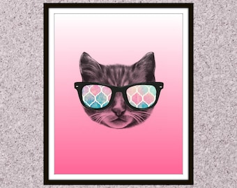 8x10 Gallery Wall Art | Digital Wall Art | Ombre | Hipster Cat | Sunglasses | Printable Art | Gallery Wall Decor