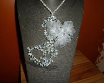 wedding or evening necklace pearls and flowers