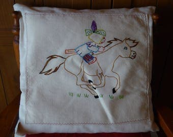 Cushion cover embroidered children's