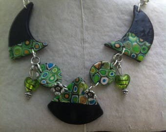 Necklace original mosaic shades of green and black