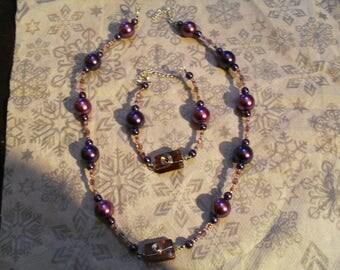 set (necklace and bracelet) original, modern, unique (purple)