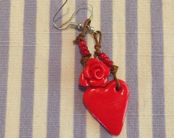 Polymer clay accessories HomeMade red, gift for her.