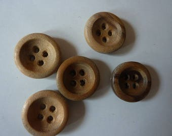 10 genuine 17 mm in diameter, thickness 3 mm medium edges wooden buttons
