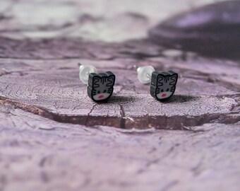 Cat Stud Earrings gray jewelry