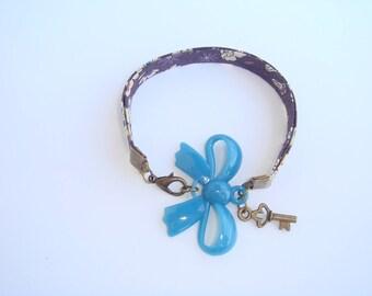 child bracelet bronze blue bow