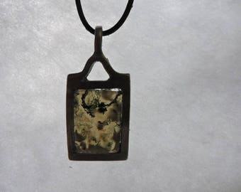 MOSS agate pendant set with Tin with a leather cord