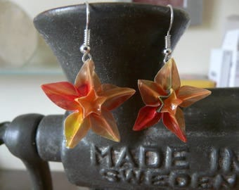 Origami star Columbine calquqe orange paper flower earrings