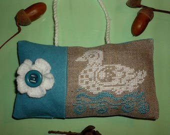 Door hanging cushion off white and blue, handmade embroidery on canvas linen cross stitch embroidery