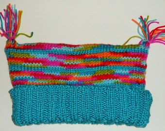 Fun Hand Knit Hat in Bright Variegated Colors with Bright Blue