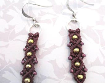 Brown and gold macrame earrings