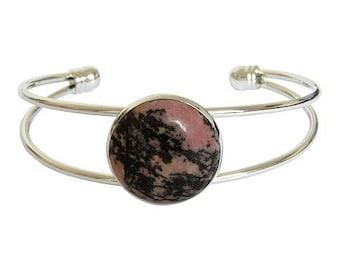 Silver plated cabochon bracelet - rhodonite