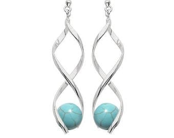 Swirl silver plated - turquoise earrings