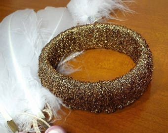Bracelet sparkling old gold crochet