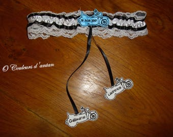 Bridal garter themed motorcycle custom harley style, turquoise, gray or black and white lace Made in France