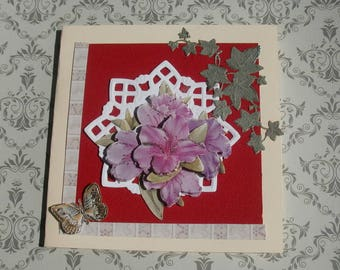 292 Ivy and Butterfly flower greeting card