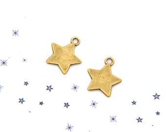 bronze tinted set of 2 metal star charm
