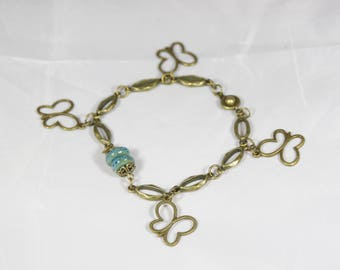 Beautiful bronze turquoise blue ceramic bead Butterfly 18 cm bracelet