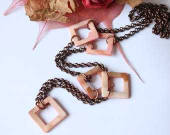 Copper and natural Pearl Necklace