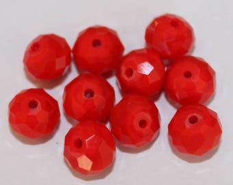 Red Czech Crystal beads clear AB faceted, set of 10