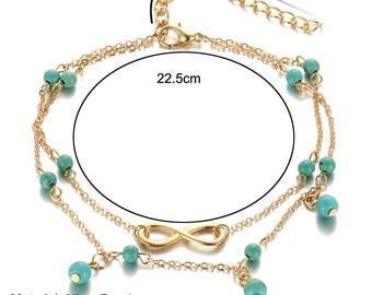 Infinity Golden feet and turquoise stone bracelet