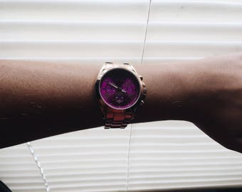 Gold Watch with Pink face